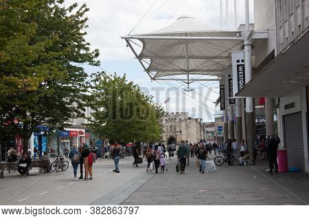 Shoppers In Southampton Town Centre In Hampshire In The Uk, Taken On The 10th July 2020