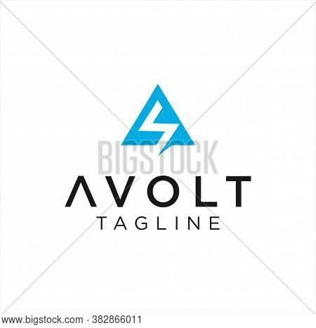 Initial Letter A Voltage Logo Design. Volt Bolt Flash Logo Design Template. Electrical Logo Design B