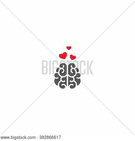 Gray Brain With Red Hearts Icon. Intellect, Phsychology, Knowledge Simple Pictogram Isolated On Whit