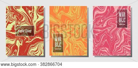 Abstract Marble Prints, Vector Cover Design Templates. Fluid Marble Stone Texture Iinteriors Fashion