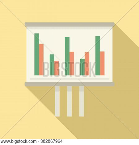 Audit Banner Graph Icon. Flat Illustration Of Audit Banner Graph Vector Icon For Web Design