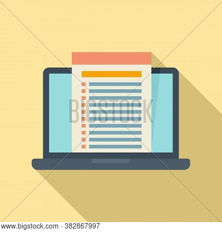 Laptop Audit Icon. Flat Illustration Of Laptop Audit Vector Icon For Web Design