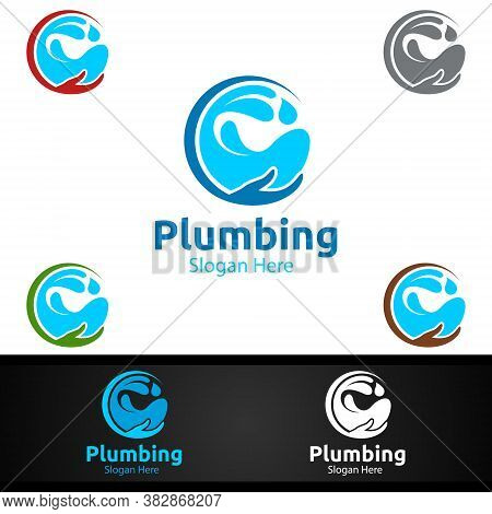 Infinity Plumbing Logo With Water And Fix Home Concept Design
