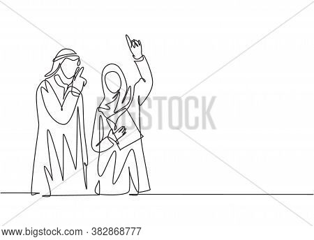 One Single Line Drawing Of Young Happy Male And Female Muslim Manager Discussing Business Project. S