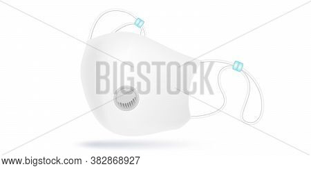 White Face Mask Fabric With Breather Filter Valve. Cotton Respirators With Activated Carbon Filter.