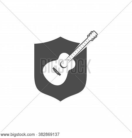 Shield Guitar Design Vector Template. Simple Set Of Electric Guitar Vector Icons