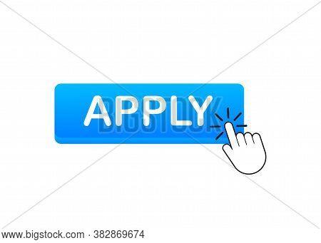 Apply With Cursor Button. Internet Icon. Pointer Click Icon. Vector Stock Illustration.
