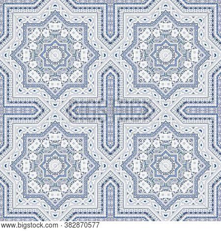 Modern Moroccan Zellige Tile Seamless Rapport. Geometric Texture Vector Patchwork. Tapis Print Desig