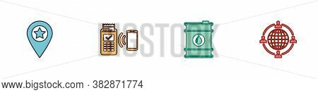 Set Location With Star, Pos Terminal, Barrel Oil And Outsourcing Concept Icon. Vector