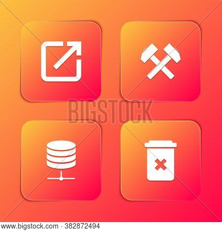 Set Open In New Window, Two Crossed Hammers, Server, Data, Web Hosting And Trash Can Icon. Vector
