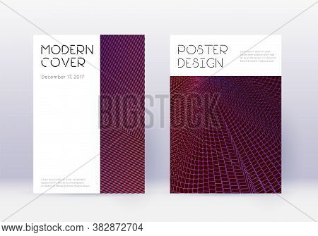 Minimal Cover Design Template Set. Violet Abstract Lines On Dark Background. Decent Cover Design. Sy