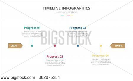 Timeline Diagrams Concept For Infographics With 4 Steps Process With Modern Flat Style