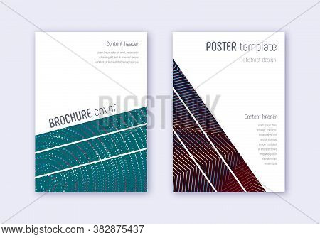 Geometric Cover Design Template Set. Red White Blue Abstract Lines On Dark Background. Captivating C