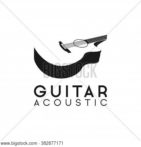 Acoustic Guitar Logo Retro Hipster . Guitar Logo On White Background . Music Logo Design Template