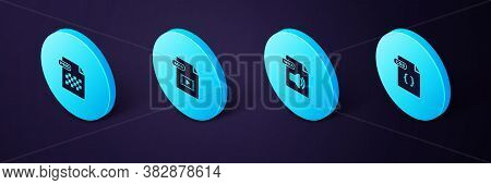 Set Isometric Css File Document, Wma, Mp4 And Png Icon. Vector