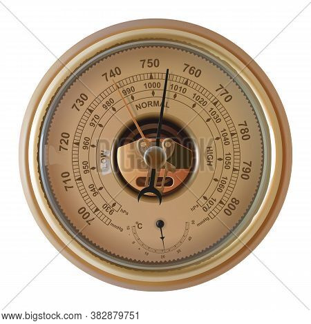 Vector Meteorological Barometer Isolated On White Background