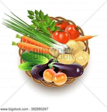Vector Wicker Dish With Vegetables Isolated On White Background