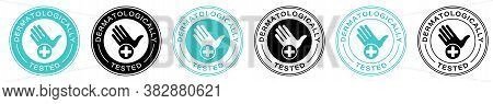 Dermatologically Tested Vector Label With Water Drop And Hand Logo. Dermatology Test, Dermatologist