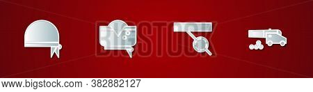 Set Pirate Bandana For Head, Hat, Eye Patch And Cannon With Cannonballs Icon. Vector