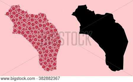 Vector Pandemic Virus Mosaic And Solid Map Of Argentina - La Rioja. Map Of Argentina - La Rioja Vect