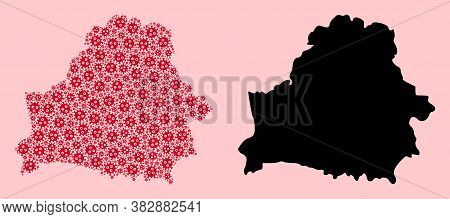 Vector Virus Mosaic And Solid Map Of Belarus. Map Of Belarus Vector Mosaic For Outbreak Campaigns An