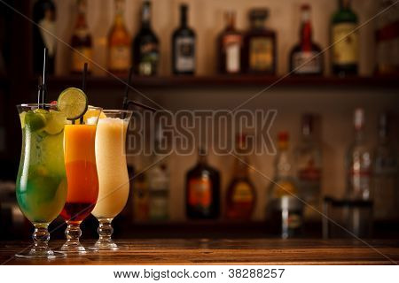 Three Tropical Mixed Drinks