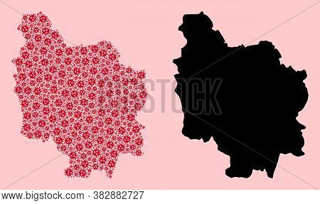 Vector Viral Mosaic And Solid Map Of Burgundy Province. Map Of Burgundy Province Vector Mosaic For C
