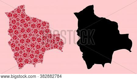 Vector Virus Mosaic And Solid Map Of Bolivia. Map Of Bolivia Vector Mosaic For Outbreak Campaigns An
