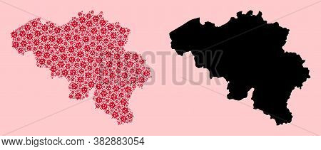 Vector Pandemic Virus Mosaic And Solid Map Of Belgium. Map Of Belgium Vector Mosaic For Lockdown Cam