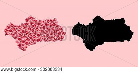 Vector Virus Mosaic And Solid Map Of Andalusia Province. Map Of Andalusia Province Vector Mosaic For