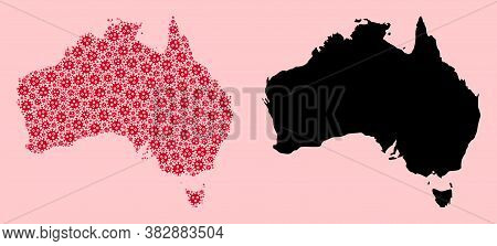 Vector Viral Mosaic And Solid Map Of Australia. Map Of Australia Vector Mosaic For Outbreak Campaign