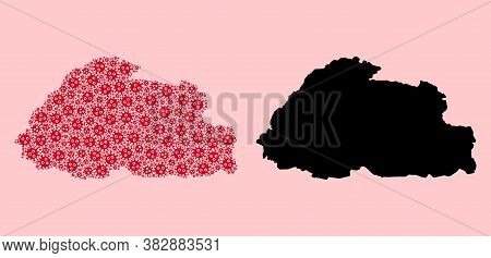 Vector Flu Virus Mosaic And Solid Map Of Bhutan. Map Of Bhutan Vector Mosaic For Treatment Campaigns