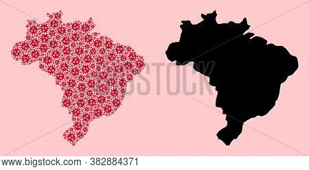 Vector Covid-2019 Virus Mosaic And Solid Map Of Brazil. Map Of Brazil Vector Mosaic For Treatment Ca
