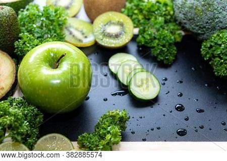 Healthy Detox. Organic And Fresh Green Vegetable For Detox And Vegan Diet And Weight Loss On Backgro