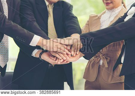 Teamwork Success. Close Up Hands Executive Business People Group Team Happy Showing Teamwork And Joi