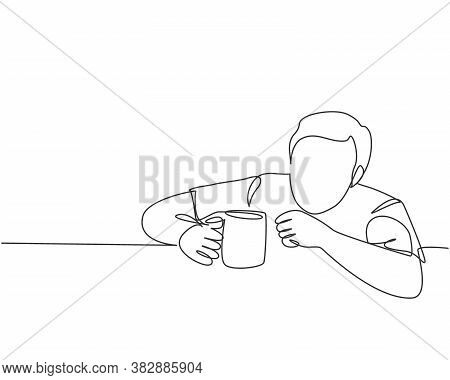 One Single Line Drawing Of Young Desperate Worker Staring Blankly To A Mug Of Coffee While Order Dri