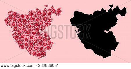 Vector Virus Mosaic And Solid Map Of Cadiz Province. Map Of Cadiz Province Vector Mosaic For Treatme
