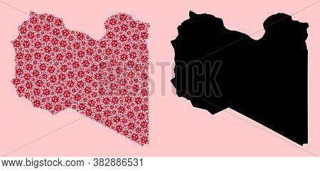 Vector Sars Virus Mosaic And Solid Map Of Libya. Map Of Libya Vector Mosaic For Outbreak Campaigns A