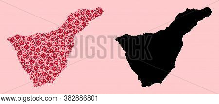 Vector Pandemic Virus Mosaic And Solid Map Of Tenerife Island. Map Of Tenerife Island Vector Mosaic