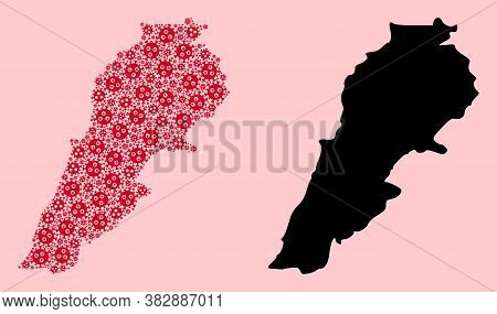 Vector Pandemic Virus Mosaic And Solid Map Of Lebanon. Map Of Lebanon Vector Mosaic For Doctor Campa