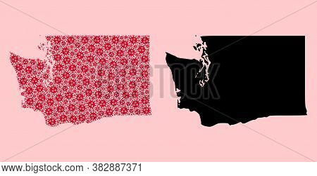 Vector Viral Mosaic And Solid Map Of Washington State. Map Of Washington State Vector Mosaic For Out