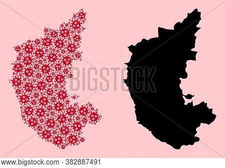 Vector Covid-2019 Virus Mosaic And Solid Map Of Karnataka State. Map Of Karnataka State Vector Mosai