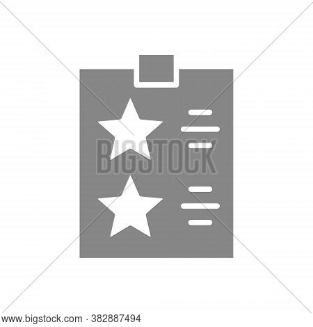 Check List With Stars Grey Icon. Tablet With Paper To The Rating, Test, Questionare Sign