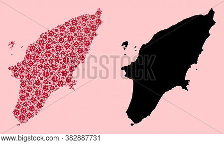 Vector Sars Virus Mosaic And Solid Map Of Rhodes Island. Map Of Rhodes Island Vector Mosaic For Quar