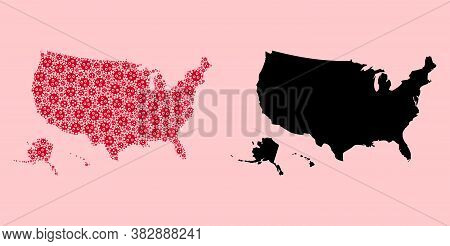 Vector Pandemic Virus Mosaic And Solid Map Of Usa Territories. Map Of Usa Territories Vector Mosaic