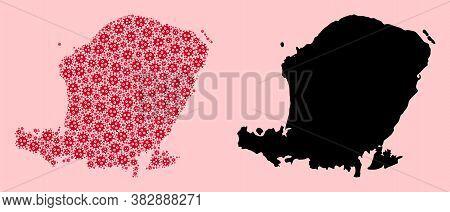 Vector Sars Virus Mosaic And Solid Map Of Lombok Island. Map Of Lombok Island Vector Mosaic For Heal
