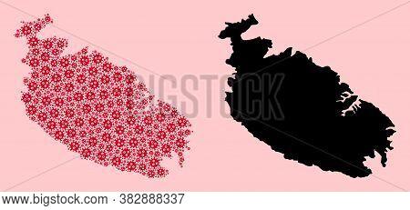 Vector Virus Mosaic And Solid Map Of Malta Island. Map Of Malta Island Vector Mosaic For Medicine Ca