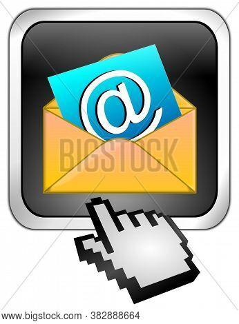 Decorative Silver E-mail Button With Cursor - 3d Illustration