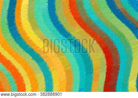 Orange, Red And Blue Waves Color Pencil With High Coverage Background, Digitally Created.