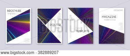 Triangle Brochure Design Template Set. Rainbow Abstract Lines On Dark Blue Background. Breathtaking